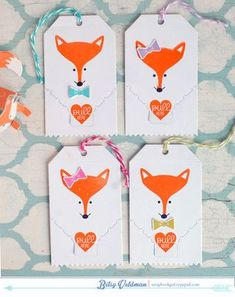 Foxy Gift Tags by Betsy Veldman for Papertrey Ink (December 2014)