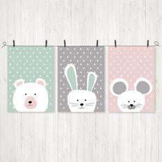 Drucke & Plakate - Print Tiere mint/grau/rosa, 3erSet, A4 - ein Designerstück von ngmSTYLE bei DaWanda