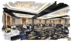 Ballroom rendering Student Home, Interior Design Sketches, Duke University, Ballrooms, Conference, Dance Rooms