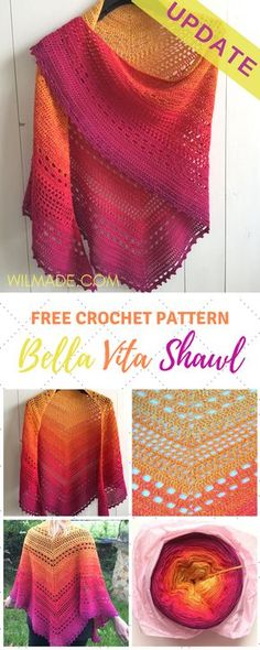 Crochet Shawl Free crochet pattern of the bella vita shawl has been updated! It's now easier to understand. - Looking for a free crochet shawl pattern? Here you can find one of my most popular triangle shawl patterns called Bella Vita Shawl. Diy Tricot Crochet, Plaid Au Crochet, Crochet Shawl Free, Bag Crochet, Crochet Gratis, Crochet Shawls And Wraps, Crochet Scarves, Crochet Clothes, Crochet Vests