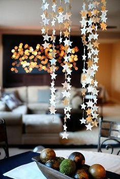 Hosting a holiday party? We just found your star hanging decorations! Awesome for the Christmas and great for New Year's party! Our paper star garlands make the perfect decoration for any party. This garland features ~ Christmas And New Year, Christmas Time, Christmas Crafts, Christmas Ornament, Recycled Christmas Decorations, Diy Christmas Garland, Christmas Thoughts, Christmas Ideas, Star Decorations