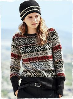 Adorable on or off piste, our hand-loomed Fair Isle pullover recalls sporty vintage ski sweaters. Knit in black, red, taupe and navy alpaca, the trim-fitting silhouette has extra-long ribbing at the cuffs and hem.