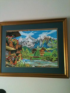 Cabin in the mountains painting