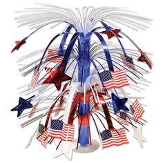 Cette décoration en cascade avec des drapeaux USA sera parfaite pour décorer votre centre de table ou pour disposer sur le buffet. Elle mesure environ 45 cm de hauteur. Ce centre de table sera parfait pour un dîner, un buffet, une réception avec les Etats