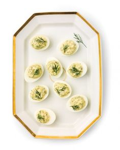 Deviled Eggs with Cucumber, Dill, and Capers