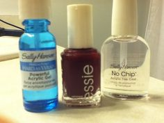 DIY Shellac  What You'll Need: 1. Sally Hansen Hard As Wraps Powerful Acrylic Gel 2. My favorite nail polish (Seriously, Essie is amazing) 3. Sally Hansen No Chip Acrylic Top Coat  Start with clean, dry nails. Apply one coat of the Powerful Acrylic Gel. When it's dry, apply two coats of your favorite nail polish. When that is dry, apply one coat of the Acrylic Top Coat.