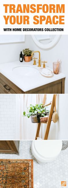 Neutral tones and natural wood elements bring this light and airy bathroom together. Read our blog to learn how style blogger Caitlin Kruse included the Home Decorators Collection furniture and decor to transform her space.