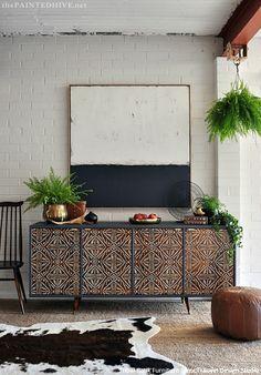 Global Chic Stenciling: DIY Tribal Furniture Transformation using Royal Design Studio Tribal Batik Furniture Stencils