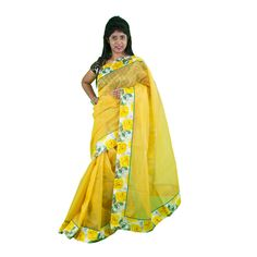 Yellow Printed Net  Saree  with blouse By SHRE Sarees on Shimply.com