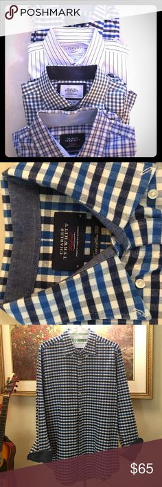 Bundle of 4 CHARLES TYRWHITT long sleeves M Men's casual long sleeves button front. White and blue stripes.  All in excellent condition. No stains. No missing buttons. Medium and Slim Fit. CHARLES TYRWHITT Shirts