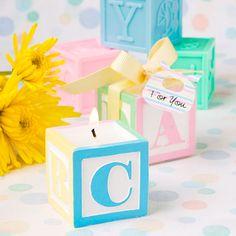 recordatorio para baby shower vela block A-B-C en colores pasteles. medida:  3 * 3 cms.