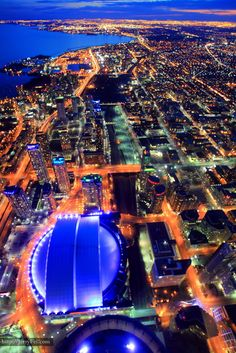 Aerial view of Downtown Toronto, Rogers Centre (Skydome) and Lake Ontario Toronto City, Downtown Toronto, Rogers Centre, Canada, Beautiful Places To Travel, Landscape Photographers, Aerial View, Cn Tower, Ontario