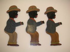 THREE AFRICAN-AMERICAN AMERICANA FOLK ART PAINTED CUT-OUTS