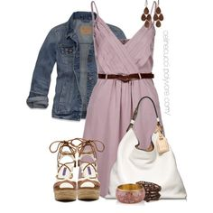 Casual - Summer Dress & Denim Jacket, created by celinecucci on Polyvore