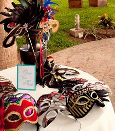 Masquerade masks for a New Orleans themed wedding!