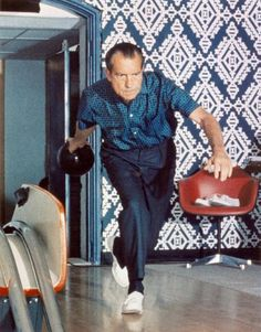 I pretty much never get tired of this picture of Nixon in the White House Bowling Alley. His shirt, the wallpaper, the chairs... it's like a little groovy time capsule.