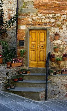 Love a mustard-colored front door... ~~ Houston Foodlovers Book Club