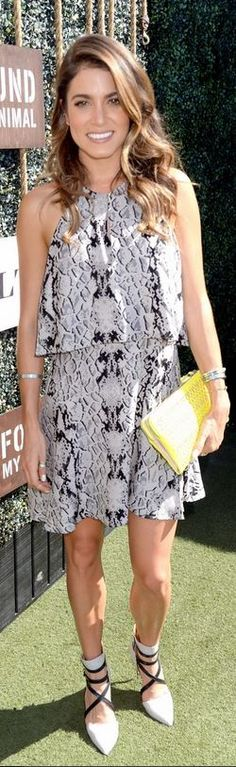 Who made Nikki Reed's gray snake print top, python print skirt, clutch handbag, and black pumps that she wore in West Hollywood? Shirt and skirt – Parker Shoes – Rebecca Minkoff Purse – Stella & Dot Cool Outfits, Casual Outfits, Fashion Outfits, Nikki Reed Wedding, Celebrity Red Carpet, Celebrity Style, Python Print, Style Snaps, Red Carpet Dresses