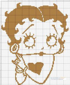 Betty Boop punto de cruz 18 x 22 Centímetros 99 x 121 Puntos 1 color DMC