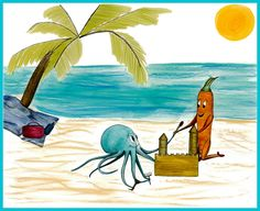 Humorous Garden Themed Wall Art Featuring Joyous Garden Building  Sandcastles At The Beach