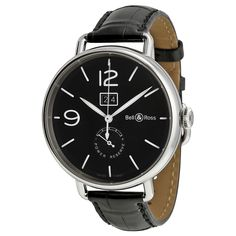 Bell and Ross Vintage Automatic Black Dial Black Leather Men's Watch BLRBRWW190-BL-ST
