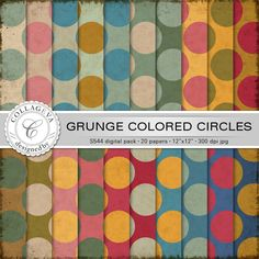 "Grunge Colored Circles Digital Paper Pack, 20 printable sheets, 12""x12"" Large Polka dots Vintage colors green ocher beige red blue (S544) by collageva on Etsy"