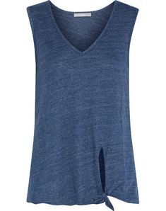 Shop on-sale Lilla knotted jersey tank. Browse other discount designer Sleeveless Top & more luxury fashion pieces at THE OUTNET Tart Collections, Fashion Outlet, Basic Tank Top, Fitness Models, Luxury Fashion, Blue And White, V Neck, Pockets, Cotton
