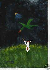 Jack Russell Terrier dog Dragon Outsider Folk Art PRINT Todd Young THE WIZARD