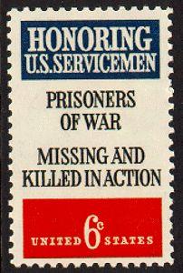 "6 cent stamp ""Honoring U.S. Servicemen Prisoners of War Missing and Killed in Action"" November 24, 1970"