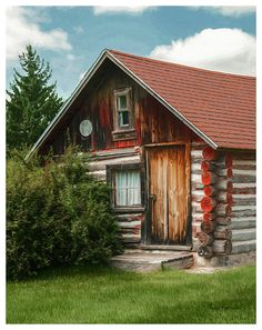 The historic settlers log home is on the Iola Historical Society grounds in Iola, Wisconsin.