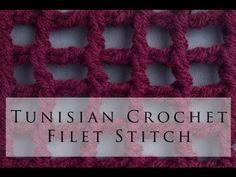 Tunisian Crochet Filet Stitch - http://tunisiancrochetstiches.mycrochetvideo.com/2016/01/26/tunisian-crochet-filet-stitch/