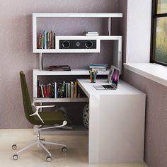 Современный компьютерный стол со встроенной колонкой медиасистемой в стиле модерн белого цвета, купить в интернет-магазине https://lafred.ru/catalog/catalog/detail/41917827146/
