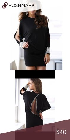 Victoria's Secret Black Cocktail Dress Open back with silver beaded embellishment, opening in mid sleeve, silver beaded cuffs, scoop neck. Never worn. From Victoria's Secret. Runs big. SIZE Large Moda International Dresses Long Sleeve