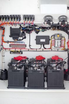 The Proper Way your Solar Power System Boat Wiring should look! Love how clean and organized this is! Sailboat Living, Living On A Boat, Boat Wiring, John Boats, Sailboat Interior, Kombi Home, Boat Restoration, Boat Projects, Bass Boat
