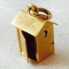 Vintage Outhouse with Cut-Out Moons 14k Gold Charm ~ From A Genuine Find