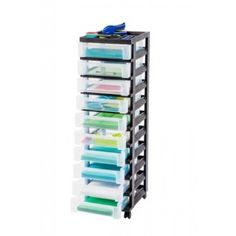Smoke 13-Inch by 38-Inch by 15-1//2-Inch Blue Hills Studio Storage Cart with 10 Drawers