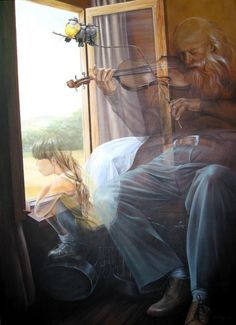 Sunday Afternoon, acrylic on canvas by Spanish artist Chelin Sanjuan