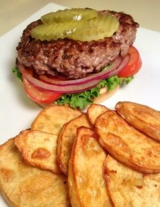All-American Open-Faced Hamburgers & Baked Sweet Potato Chips
