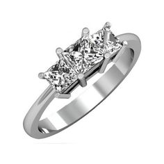 IGI CERTIFIED 1.01 Carat (ctw) 14K White Gold Princess Cut Diamond... ($1,119) ❤ liked on Polyvore featuring jewelry, rings, white, 14k white gold ring, 3 stone ring, princess cut diamond rings, 3 stone diamond ring and bridal rings