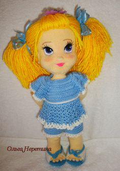 Модница Миленочка - рост 36 см, связана для доченьки, у куколки много нарядов. Описание авторское.