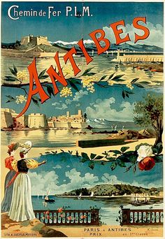 High quality reprinted travel art print poster for Antibes in France. 11 x 17 high quality reproduction on card stock. Art Nouveau Poster, Art Deco Posters, Poster Prints, Art Prints, Vintage Beach Posters, Vintage Art, Retro Poster, Ville France, Railway Posters