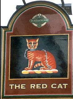 Red Cat Pub sign - Hindley Green, bordering the town of Leigh, UK