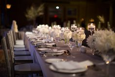 Liberty Grand wedding reception silver chairs with ivory flowers, love this! Decor Wedding, Wedding Reception, Wedding Decorations, Table Decorations, February Wedding, Toronto Wedding Photographer, Conservatory, Flower Decorations, Liberty