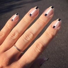 Two-Tone Lines: Two-Tone Lines With Washick's color choice of opaque black and whites, a single line's never been so fun. To keep this nod to sixties-mod feeling 2018, make sure the black tip hits exactly where the white of your nail begins.