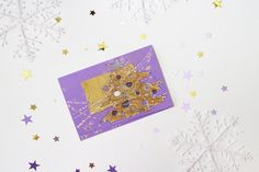 Purple Christmas tree with bronze star - blank greeting card, handmade, art, painting lavender fir, pine tree, mauve pearl pink silver OOAK by Vlada19 on Etsy