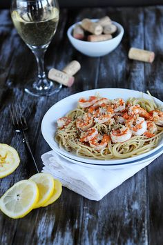 Lemon Pepper Shrimp over pasta