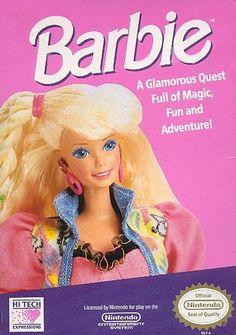 #Barbie - Label or Box Art #nintendo games #gamer #snes #original #classic #pin #synergeticideas #gameon #play #award