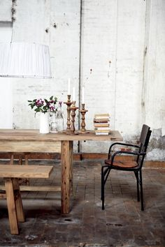 I like this wooden table with benches from House Doctor.