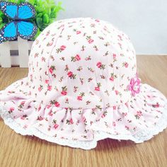 Summer Spring Cute Flower Bucket Hat With Bandage Style Fisherman Cap  Very  Kawaii Baby Girls Sun Hats cc38a1b1a40