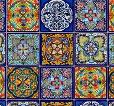 Fiesta Mexican Tiles ~ Elizabeth's Studios~100% Cotton, Sewing, Quilting, Panel #ElizabethsStudio